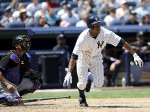 Granderson has the Granderson has perfect swing for the short porch at Yankee Stadium in NY