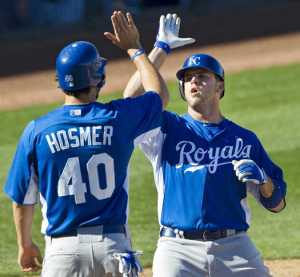 Eric Hosmer and Mike Moustakas represent the corner infield for the KC Royals.  If they both can hit for better power in 2015 as oppose to their regular 2014 campaigns, the club could withstand  losing a few key veterans like Shields, Aoki and Butler.