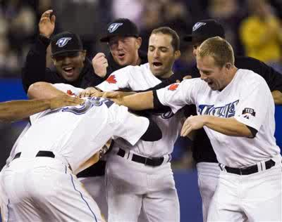 The Blue Jays have not done much celebrating this year so far.  With a bloated payroll after the Miami Marlins trade, plus the struggles of R.A Dickey, the Jose Reyes injury and signed FA Melky Cabrera, the franchise has gone 10 - 18.  Sitting in 5th place in the vaunted AL East, the playoffs seem impossible to make