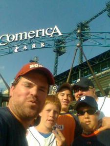 Booth with the Salter family at Comerica Park in 2009