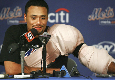 Johan Santana is just another cautionary tale of why it is hard for teams to invest money long - term on Starting Pitching,  There are just far too many ways for hurlers to be injured in comparison to Roster Players.  The Mets will just have to bide time until 2014 when the team can finally take the former Cy Young winner of the teams payroll book.  Johan Santana signed a 6 YR/$137.5 MIL deal with the Mets