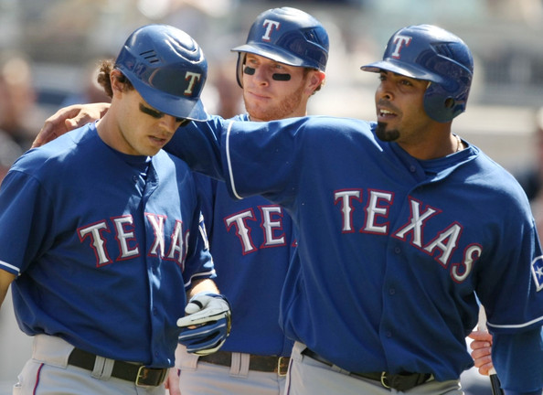 Nelson Cruz is picking up slack for the vacated Josh Hamilton and Mike Napoli.  He has hit 11 HRs (T-1st in AL) and 33 RBI for 2013 - with a .268/.317/.865 S;lash Line.  The guy always seems to hit in the clutch.  He is as a Free Agent in 2014 - and should see a hefty pay increase.on the $10.5 MIL salary he draws this year..  Cruz has a 3 Slash- Line of .278/.336/1.018 in 126 Post Season AB.  Cruz has hit 14 HRs and driven in 27 RBI.r