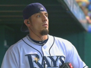 Garza, seen here in Tampa Bay gear, could be reunited with former teammate James Shields, if the Royals pick him up.  With his stuff in a hitters ballpark, he could have a really good year.