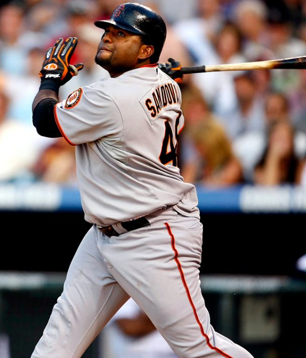 "Pablo Sandoval is a hitter out of his mind for his playoff career. How does a 3 Slash Line of .325/.372/.548 sound? His OPS of .930 is 119 PTS higher than his totals in the regular season. ""Kung-Fu Panda"" has added 6 HRs and 16 RBI in his 126 AB. Included in his numbers, were a historical Game #1 of the 2012 World Series, where he clubbed 3 HRs en route to sweeping the Tigers and claiming the WS MVP. He and Posey are forces that are better than anyone KC can roll out."