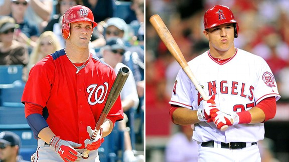 Bryce Harper and Mike Trout played in 139 Games each during the 2012 Campaign.  Both clubs went 81-58 after the players made their debut.  Harper may project to hit more HRs and RBI -while Trout will steal more bases and hit for a little higher Batting Average. With these two youngsters, the future looks brights in the MLB!
