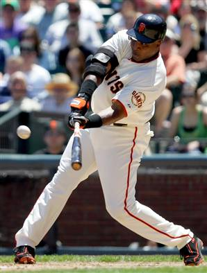 At age 34 and with 443 HRs, this is said to be the time when Bonds started using steroids.  How many could he have hit cleanly in the next decade without?  Instead, we all know the story.  In 2001, during his 153 Games Played, Bonds clubbed the single season record of 73 HRs.  This would call him for the true #1 mark.  Ruth hit his 60th HR in his 150th game.  Incredibly, Bonds nailed his 60th HR in just his 132rd game in 2001.  3 games later, he smashed 3 more roundtrippers, to put up 63 HRs in just 135 games.  He would hit 10 more tater trots in the next 18 games.