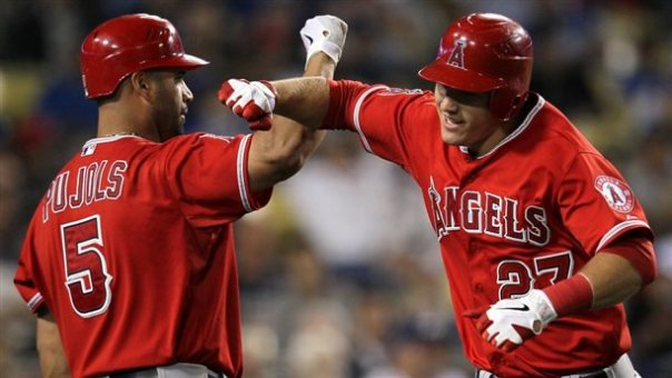 With trout and pujols tearing the cover off of the ball after Trout arrived in May - how much more damage will they do with 43 HRs 128 RBI Josh  Hamilton to the mix