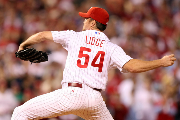 Brad Lidge saved exactly 100 games with the Phillies, 41 of them came with the 2008 Phillies that went onto win the World Series.  Lidge was perfect in the regular season and then in 7 straight opportunities in the post season.  Prior to his stint with Philly, the Astros traded him for Michael Bourn, who was subsequently traded for Brett Oberholtzer and Paul Clemens of the Pitching Staff.  Lidge was also the Closer on Houston' World Series Appearance in 2005.  It is good to see his asset is still helping the club.