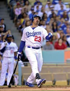 Adrian Gonzalez may not blasting the ball with the same kind of power he did in his San Diego says, but he should still be considered a 'professional hitman' and dangerous.  #23 has done the number justice (formerly worn by Dodger NL MVP Kirk Gibson) with a .297/.344/.805 Slash Line - with 17 HRs, 28 - 2B and 81 RBI.  He is right in the middle of a Left - Right, Left - Right powerhouse foursome atop the lineup with Crawford, Puig, he and then Ramirez behind him.