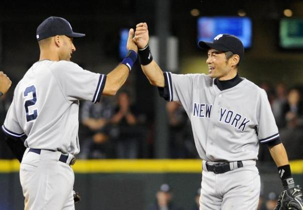 You are looking at the  #1 and #2 Hits Leaders of ALL-Time for Active Professional Hitters in the World.  Having them hit 1-2 in the lineup only makes sense,  You might as well have them both retire at the same time as well.  Jeter is signed for one more year at 17 Million Dollars and a player option to play in 2014.  The Yankees ink ed Ichiro to a 2 YR/13 Million Dollar Contract
