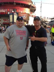 Ben Fallon (Left) at Nats Park and Chuck booth (Right) (Patriots Day 2012)