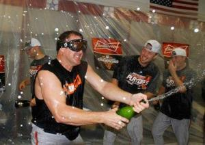This was taken after the Orioles knocked off the Rangers, yet a week later the Orioles have been eliminated from the playoffs by the Yankees.  I am sure Jim Thome was hoping for one of these parties after a World Series win