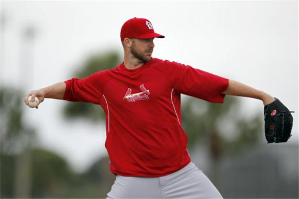 Carpenter warming up while rehabbing another one of the many injuries that have plagued his career.  In any year that the man has started 25 or more games as a Cardinals player, the franchise has made the playoffs.  Granted the 2012 version of the club was without Carp for the whole season as well and they managed