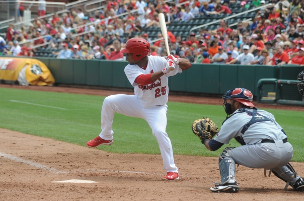 Taveras hit for a 3 Slash Line of .321/.380/.953 in AA Springfield last year.  In Memphis of the PCL this year of 2013, Taveras    The man from the Dominican Republic turned just 21 in June of this year.  He was ranked #3 for Prospects by Baseball America.