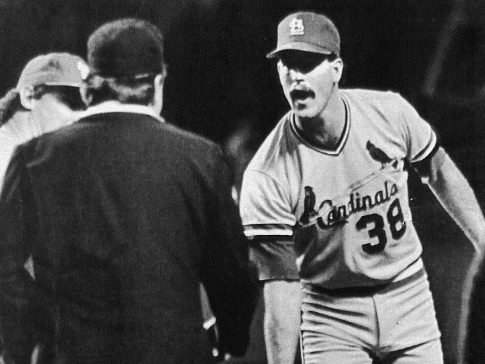 We could see another version of the i - 70 World Series.  Cards' pitcher Todd Worrell argues a call with first base ump Don Denkinger.  Baseball.  World Series, 1985.  Game 6.