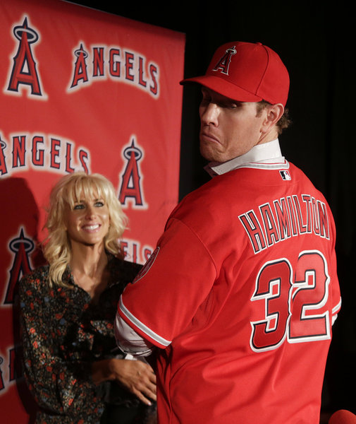 Josh Hamilton resembles the struggling version of himself during the 2012 season.  He is not patient enough at the plate - and is suffering from swinging at poor pitches. I think the Angels can take off and make a run with the likes of Albert Pujols and Mike Trout still in your lineup, however they must start playing well now.  You have got to start making ground on the Oakland A's and Texas Rangers immediately.