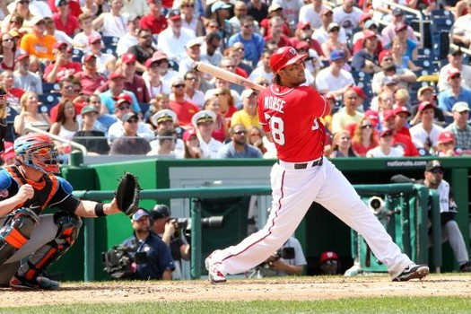 Mike Morse was only signed through the 2013 season, while the brass felt that the Nationals had a playoff Roster of players.  From one injury after another, it is too bad the club didn't still have this guy to help the depth.  Morse has hit for a 3 Slash Line of .248/.311/.766 - with 10 HRs and 18 RBI