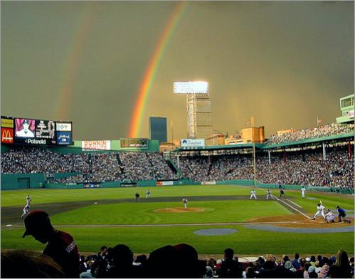 "One of several different shots of the Fenway ""Double Rainbow"""