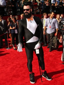 "Wilson appearing at the 2011 Espy Awards. Here he shows of his ""Fear the Beard"" and his wacky style in general dressing in a full body spandex suit"