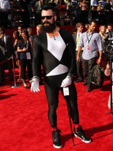 """Wilson appearing at the 2011 Espy Awards. Here he shows of his """"Fear the Beard"""" and his wacky style in general dressing in a full body spandex suit"""