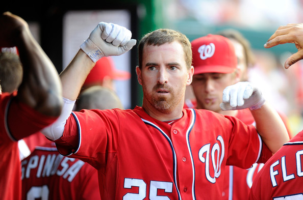 Adam LaRoche has been crucial to the Nationals offense this year, and many of his 23 HRs and 80 RBI have come when the team needed it the most.  LaRoche homered twice on Sunday - and has 5 big fly's in the last week.  Before his awesome power barrage yesterday, Washington had dropped 5 straight games to the Phillies overall.  Of course LaRoche also did in the Dodgers last Wednesday, cranking a 2 run shot to tie the game vs Los Angeles off of the bench. and then adding another 3 RBI in his next Plate Appearance.  It will year one more year of 25 HRs and 80 RBI for the 1B.