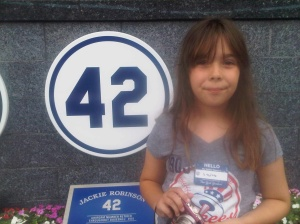 Haley at the Yankees Monument.