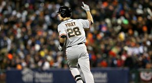 Buster Posey is hands down the face of the San Francisco Giants. Having only played 1 full year in the Majors he already has 2 World Series rings and an MVP (2012) trophy. He won the Rookie Of The Year in 2010 and the Batting Crown in 2012.