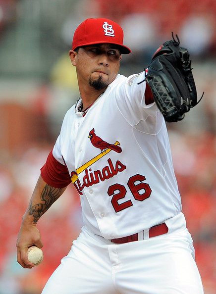 Lohse has had an up-and-down career since making his debut in 2001. He has bounced around cities and has experienced some good seasons, and some less than impressive seasons. He was a big part in the middle of the rotation during their 2011 World Series run finishing 14-8 while posting a 3.39 ERA.