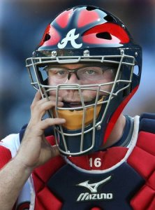 McCann has never been known for his defense, but he's good enough to stay back there without costing the team. Here he is sporting some glasses specially made to go under his catchers mask