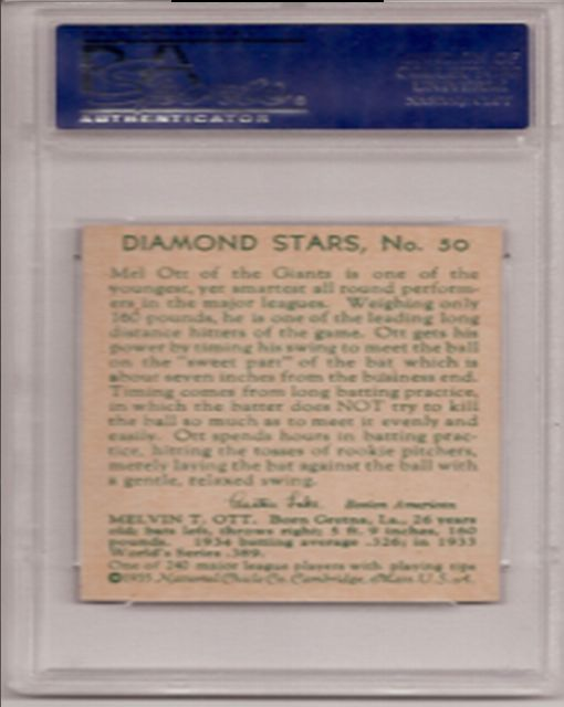 Back of the Mel Ott Card - Diamond Stars Series 1935