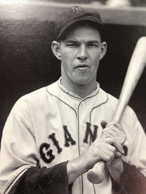 Mel Ott was a Hall Of Fame Player that spent his whole Career wit the New York Giants.  He ranks 4th in ALL - Time HRs for players that played for just 1 team behind Schmidt (548), Mantle (536), and  Banks (512)