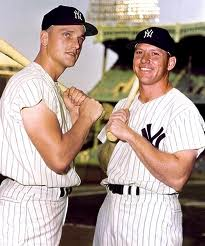 "In 1961 it was just like Babe Ruth and Lou Gehrig all over again circa 1927, with Roger Maris and ""The Mick"" chasing down the Babe's 60 HR record.  Mantle would fall by the wayside clubbing a Career high 54 dingers, while Maris broke the record.  Their 115 combined HRs is still the best 1-2 record of ALL - Time"