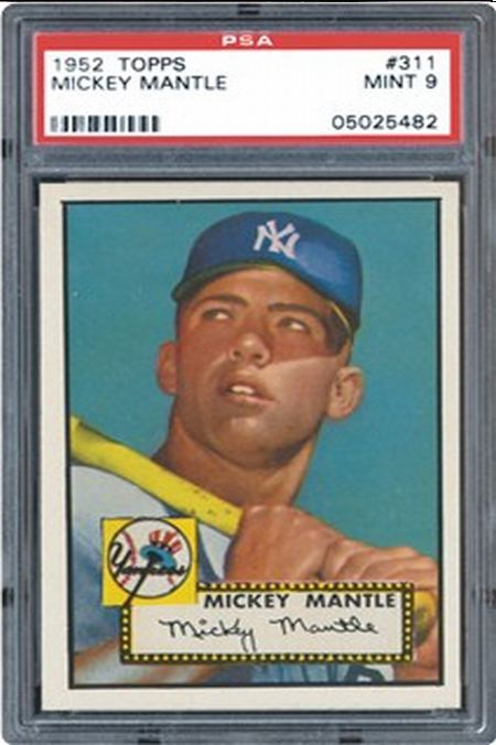 With a PSA grade of 9 (mint), The Mick's card has a market value of an astounding $385,000.  Got any lying around?