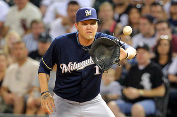 Hart wasn't a terribly good or bad Right Fielder, and he brings the same level of defense to First Base. He has average fielding ability, but the Brewers moved him to 1st last season and they like him there.