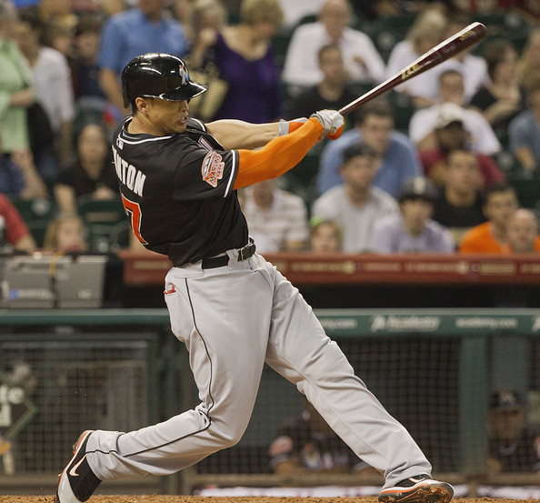 Giancarlo Stanton had 37 HRs in 2012 in only 123 Games which was 2nd most in the NL. Even more impressive, he averaged a true distance of 413 ft on those 37 dingers, coming off that bat at an average speed of 107.2 MPH. He also hit the longest homerun in 2012 at 494 ft (true distance).