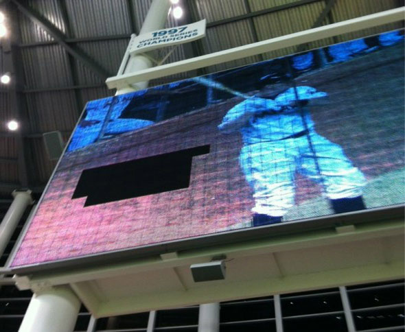 The broken Miami Marlins scoreboard was another casualty caused by one of Stanton's HRs. This was from a 462 ft Grand Slam off Jamie Moyer that came off Stanton's bat at a ridiculous 122.4 MPH. This was the fastest a HR ball has ever been recorded coming off a bat.
