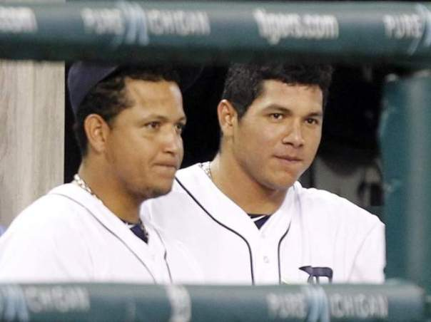 Miguel  Cabrera just ad his 30th Birthday and could really help mentor his lookalike young teammate.  Both men hail from Venezuela.  Garcia was signed by Detroit as an Amateur Free Agent in 2007.  Picture courtersy of freep.com