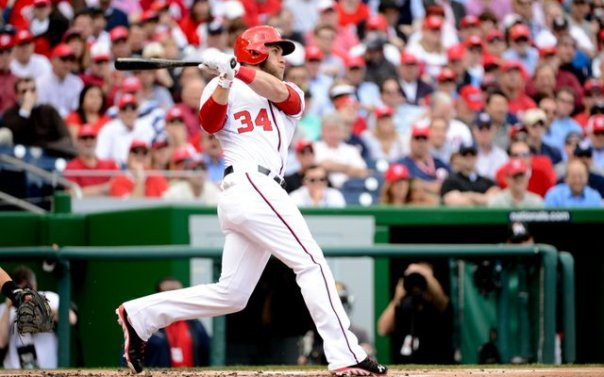 In the 1st 8 games of the season, Bryce Harper has hit for a 3 Slash Line of .394/.394/1.182  with 4 HRs and 6 RBI.  The slugger has not Walked once yet this year, but that might just be that he his working into favorable counts - and mashing the ball once he receives his pitch.
