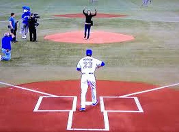Geddy Lee is the front man for the Canadian Band Rush and threw out the first pitch.  Over 48000 fans jam packed the Rogers Center this past Tuesday.,  The team is favored to win the American League east by Las Vegas Oddsmakers.
