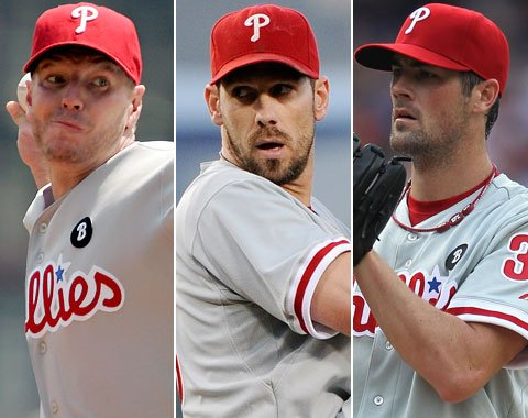 "If the ""Big 3″ in the Phillies rotation could rebound from their slow starts (Lee has been good) to repeat their 200+ IP and Sub 3.00 ERAs from 2011, the Phillies will be a force to be reckoned with in 2013.  Also, if Halladay, Lee and Hamels duplicate their Career Win Percentages  for their Careers (415-234, – .635) – they could net the team 60-70 Wins from just their 100 starts.  If the other 2 starters just go .500, you could see a 90 Win Season and challenge a playoff spot."