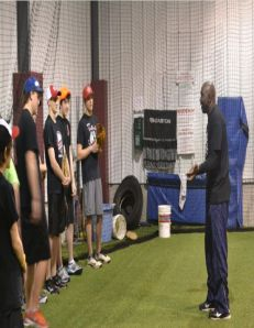 Mookie  Wilson teaching youngsters the message of teamwork through baseball at the Smith Baseball Facility in Central, Ontario Canada Sat, April.13/2013