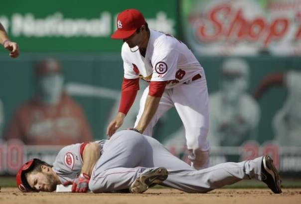 Chris  Heisey diving into second after a double in the Reds 13-4 win against the Cardinals. All Reds fans are hoping he can produce enough in Ludwick's absence. If he can do that look for the Reds to stay atop the standings in the Central.