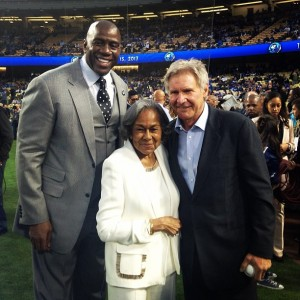 Dodgers' part owner Magic Johnson, Rachel Robinson and '42' star Harrison Ford during the Dodgers' Jackie Robinson Day pre-game celebration on April 15, 2013. Every year on Apr.15th. the whole league honors Robinson by having their players all wear #42