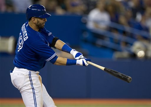 Bautista, hitting second for the Toronto Blue Jays this year, is hitting .268 with 12 HR and 29 RBI.These are not exactly the numbers that a person expects to come out of the two-hole hitter. In a lineup, the two-hitter should have some pop and should be able to drive in runs, but is really supposed to get on base. The team is really sacrificing him some RBI chances.  Why not flip him to the  3rd spot, move EE to 4th with - and put a hot - hitting Lind (.323/.410/.937) in the 2 hole?