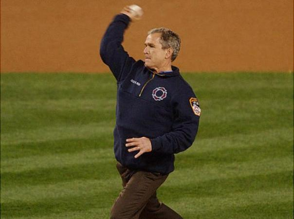 Perhaps no more opening pitch was important as the 1st pitch in New York City post the 9/11 Attacks.  George Bush threw a perfect streak and te crowd was sent into a frenzy at Yankee Stadium
