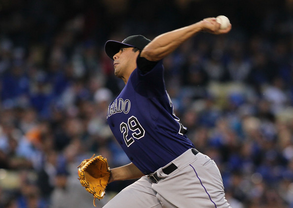 The NL Pitcher of the Week (as named by our website only was Jorge De La Rosa - who flirted with a no - hitter in one game - en route to 2 Wins, 13 Scoreless IP, a .114 BA against and WHIP of  0.69.  If the Colorado pitcher keeps this up, he may be in the running for NL Comeback Player of the Year.