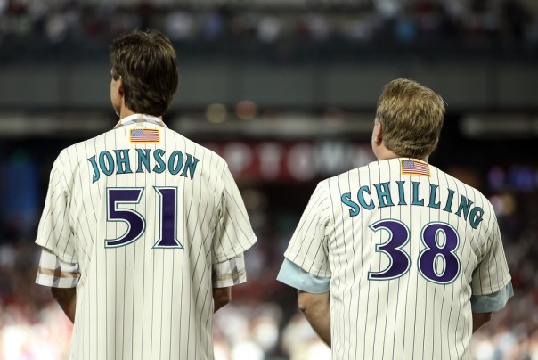 Randy Johnson was 118 - 62 (.656) 2.83 during his Arizona Career, and might very well be the 1st Arizona Diamondbacks player to be inducted into the Hall of Fame with a DBACKS cap.  Curt Schilling was 58 - 28 (.674) - with a 3.14 ERA.  They were the last teammates to K 300 players each in the same year (2002).  The DBACKS rode these two great pitchers to end the Yankees run of 3 World Series in 2001 (The 4th year in the existence of Arizona).