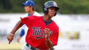 Buxton, the Twins' number 2 prospect, has a surplus amount of speed. Not only that, he has brought his bat around and is htting .368 this year in single-A Cedar. His strong arm is going to create a lot of outfield assists for this kid in the future.