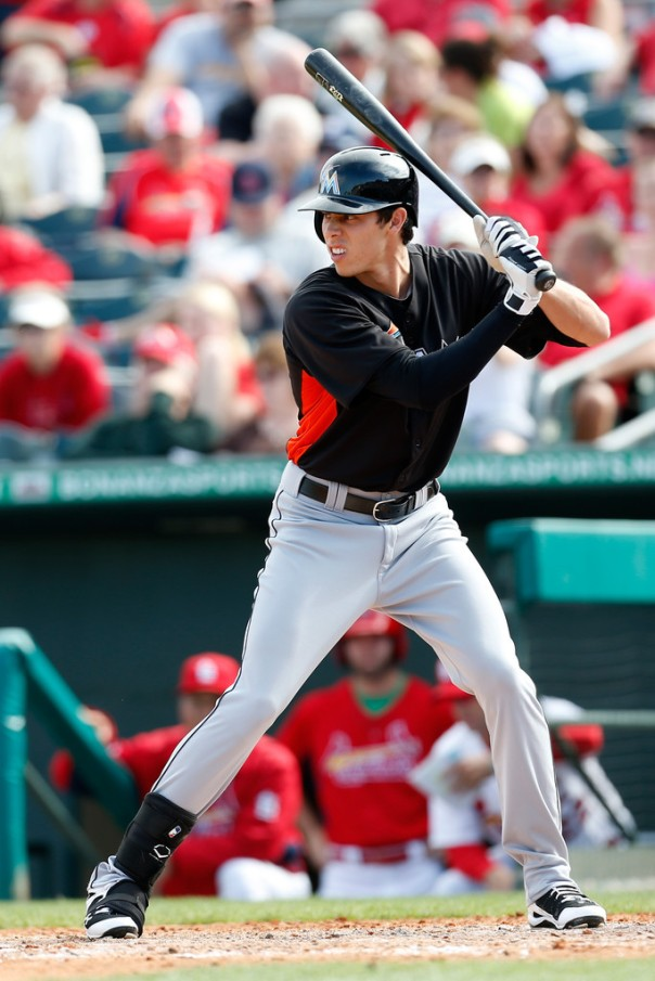 "Christian Yelich hit .364/.451/.814 in 18 MLB Spring Training games this season. He currently weighs in at 195 lbs. on a 6'4 frame).  He shows encouraging discipline over the strike zone as he continually posts OBP averages at or above .375. and should be able to steal around 20 bases if given the opportunity to run. I have repeatedly heard people opine that the Marlins ""need"" a Centerfielder for 2013."