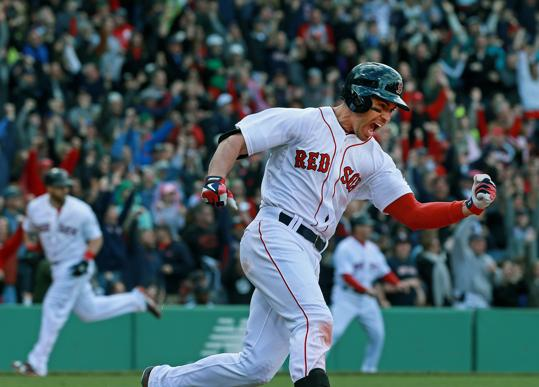 A picture from Ellsbury's walk off hit in the final game of the recent series vs. the Indians. Ellsbury seems like he might be turning the corner for the year. He just set a Red Sox single game record with 5 SBs in a game.